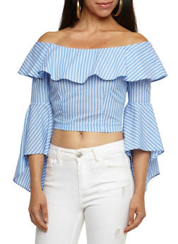 Striped Ruffle Off the Shoulder Crop Top - 3401069398954