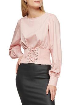 Smocked Corset  Lace Up Waist Top - LIGHT MAUVE - 3401069399075