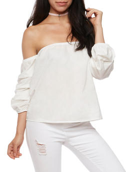 Ruched Sleeves Off the Shoulder Top - 3401069399131