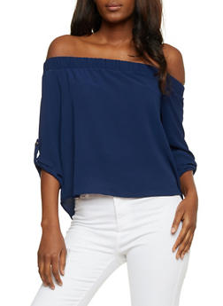 Off the Shoulder Crepe Top with Tabbed Sleeves - 3401069399402