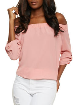 Off the Shoulder Crepe Top with Tabbed Sleeves - MAUVE - 3401069399402