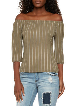 Off The Shoulder Top in Striped Crepe - 3401073309309