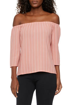 Off The Shoulder Top in Striped Crepe - BLUSH - 3401073309309