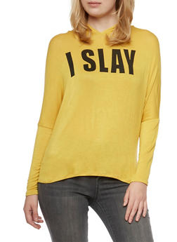 Hooded Jersey Top with I Slay Graphic - 3402035044049