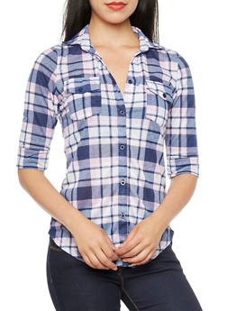 Plaid Button-Up Top with Bust Pockets - 3402051061342