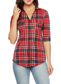 Plaid Button-Up Top with Fixed Cuff Sleeves - 3402051064499