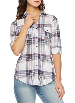 Plaid Button-Up Top with Fixed Cuff Sleeves - 3402051064503