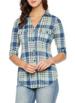 Plaid Button-Up Top with Fixed Cuff Sleeves - 3402051064538