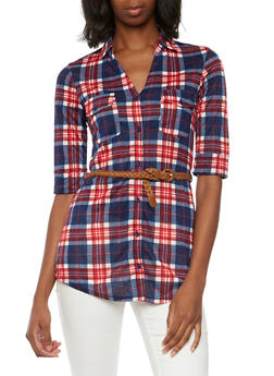 Plaid Tunic Top with Belt - 3402051064795