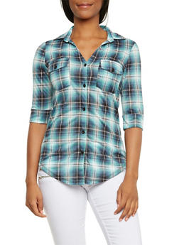 Plaid Button-Up Top with Fixed Cuff Sleeves - 3402051064868
