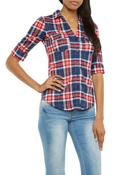 Plaid Button-Up Top with Fixed Cuff Sleeves - 3402051064869