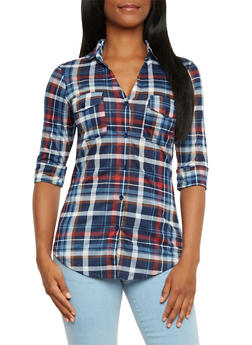 Plaid Button-Up Top with Fixed Cuff Sleeves - 3402051064870