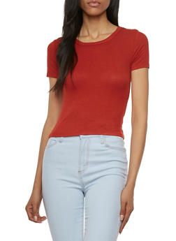 Ribbed Crop Top with Short Sleeves - 3402054210815