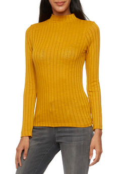 Ribbed Sweater with Mock Neck - MUSTARD - 3402054210978