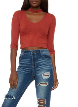 Solid Rib Knit Choker Crop Top - 3402054211793