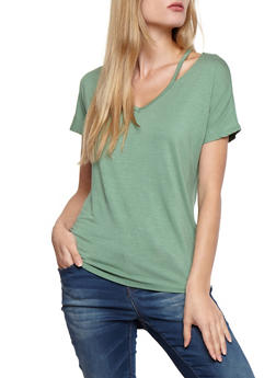 Short Sleeve Solid Top with Shoulder Cut Out - 3402054212145