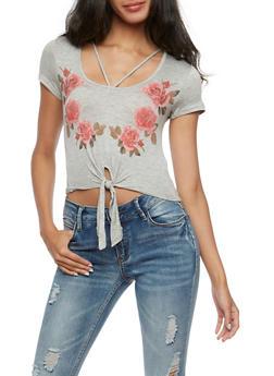 Short Sleeve Floral Print Tie Front Crop Top - 3402054213172
