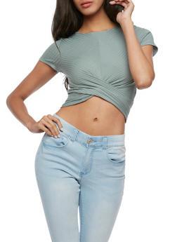 Short Sleeve Rib Knit Twist Front Crop Top - 3402054213191