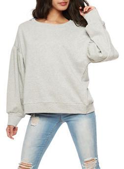Pleated Oversized Sleeve Sweatshirt - 3402054214329
