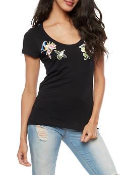Floral Bird Patch T Shirt - 3402054216145