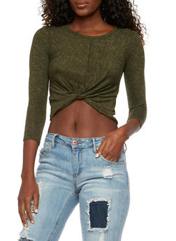 Marled Crop Top with Knotted Waist - 3402054216152