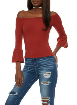 Off the Shoulder Bell Sleeve Top - 3402054216179
