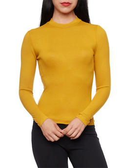 Long Sleeve Rib Knit Top with Crew Neck - MUSTARD - 3402054219960