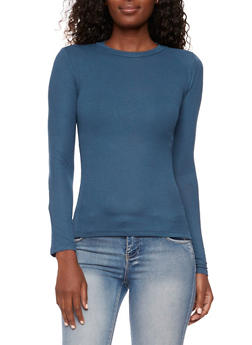 Long Sleeve Rib Knit Top with Crew Neck - 3402054219960