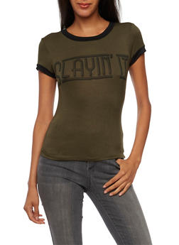 Ringer T-Shirt with Slayin It Graphic - 3402061350126