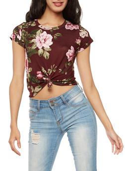 Floral Tie Front Crop Top - 3402061350353