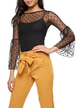 Polka Dot Bell Sleeve Mesh Top - 3402061350526