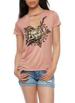 Rock 4 Ever Graphic Top with Keyhole Cutout - 3402061351481