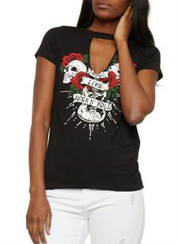 Rose Skull Graphic Choker T Shirt - 3402061351811