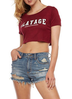 Slayage Graphic Crop Top - BURGUNDY - 3402061352864