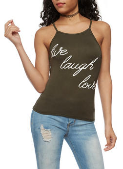 Live Laugh Love Graphic Tank Top - 3402061353001