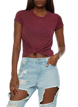 Short Sleeve Knotted Crop Top - 3402061354423