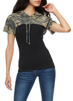 Short Sleeve Hooded Camo Crop Top - 3402061355203