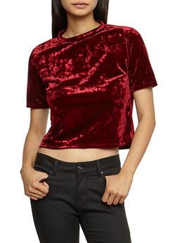 Short Sleeve Crushed Velvet Top - 3402061358684