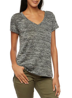 V Neck Tee with High Low Hem - 3402061358755