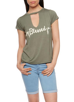 Blessed Graphic T Shirt with Keyhole Cutout - OLIVE - 3402061358896
