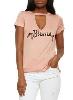 Blessed Graphic T Shirt with Keyhole Cutout - 3402061358896