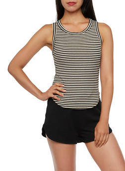 Striped Ribbed Tank Top - 3402061359193