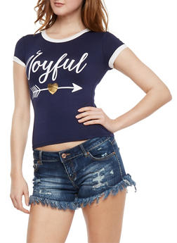 Joyful Graphic Ringer T Shirt - 3402061359481