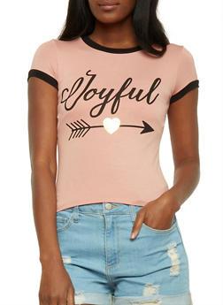 Joyful Graphic Ringer T Shirt - 3402061359481