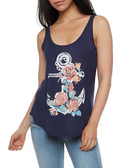 Sleeveless Floral Anchor Graphic Top - 3402061359861