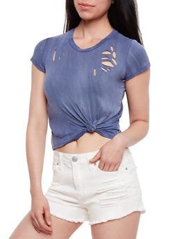 Lasercut Tie Front T Shirt - 3402061359879