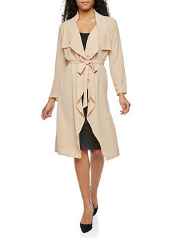 Crepe Knit Belted Duster - NUDE - 3402062700854