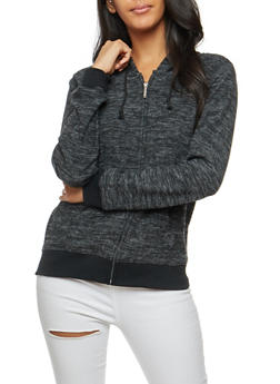 Marled Soft Knit Zip Front Hoodie - 3402062704027