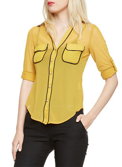 Sheer Button Up Shirt with Contrast Trim - MUSTARD - 3402062705308