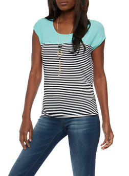 Striped Crepe Knit Top with Necklace - 3402062705339